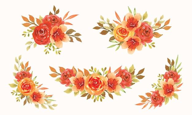 Bouquet floral de outono com aquarela de projeto de conceito florescendo