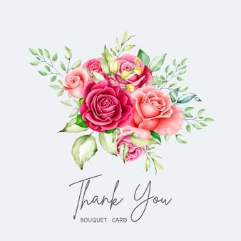 Bouquet floral elegante com flores em aquarela
