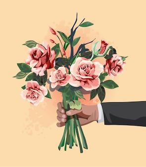 Bouquet na mão do empresário.