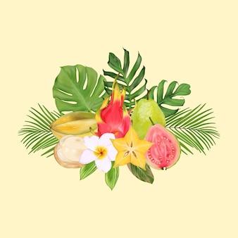 Bouquet tropical com frutas exóticas e folhas