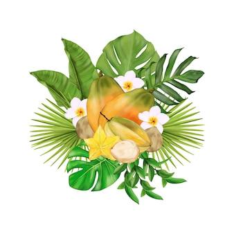 Bouquet tropical com frutas, flores, folhas