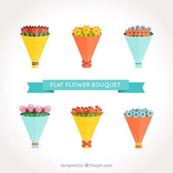 Bouquets coloridos em estilo plano