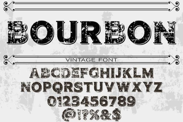 Bourbon efeito de sombra alfabeto