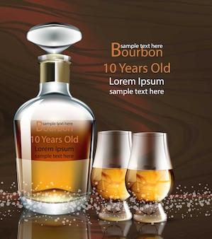 Bourbon garrafa e óculos realista embalagem de produtos maquete