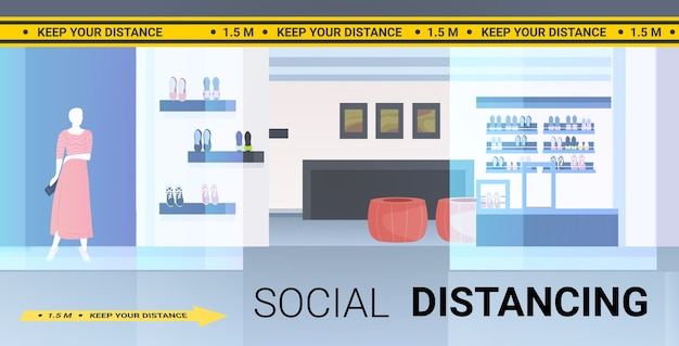 Boutique de moda moderna com sinalização de distanciamento social adesivos amarelos medidas de proteção contra epidemias de coronavírus horizontal