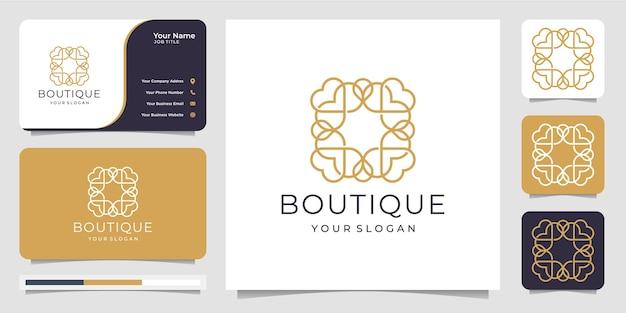 Boutique minimalista linha arte simples e modelo floral elegante com monograma. design de logotipo e cartão de visita
