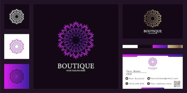 Boutique ou ornamento design de modelo de logotipo de luxo com cartão de visita