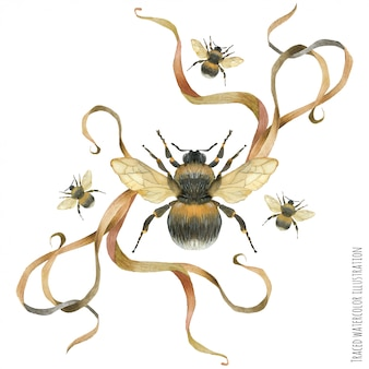 Boutonniere composição com abelha e planta