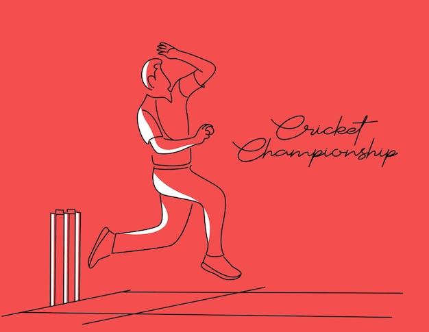 Bowler bowling em esportes de campeonato de críquete line art vector design