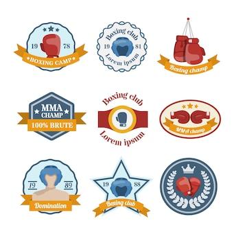 Box luta campo campeonato campeonato emblemas isolado ilustração vetorial