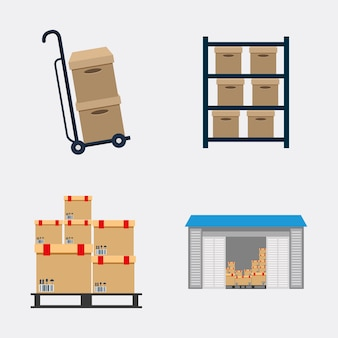 Box package cart garage ícone de envio de entrega