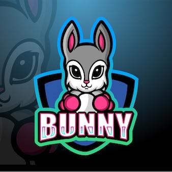 Boxe coelho mascote esport ilustração