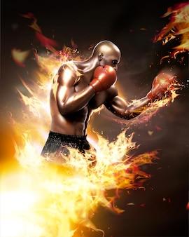 Boxeador forte com efeito de chama em estilo 3d