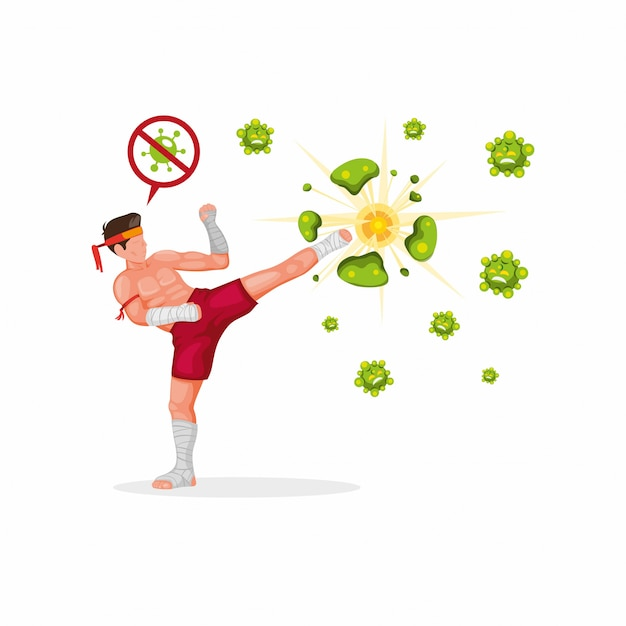 Boxer chute bactérias símbolo parar corona vírus