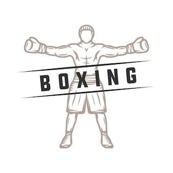 Boxer retro vintage. pode ser usado para logotipo, crachá, emblema, marca, etiqueta. arte gráfica monocromática. ilustração vetorial.