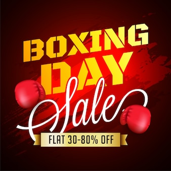 Boxing day, banner de venda, poster ou flyer design com oferta de desconto.