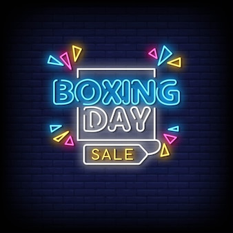 Boxing day neon signs style text vector
