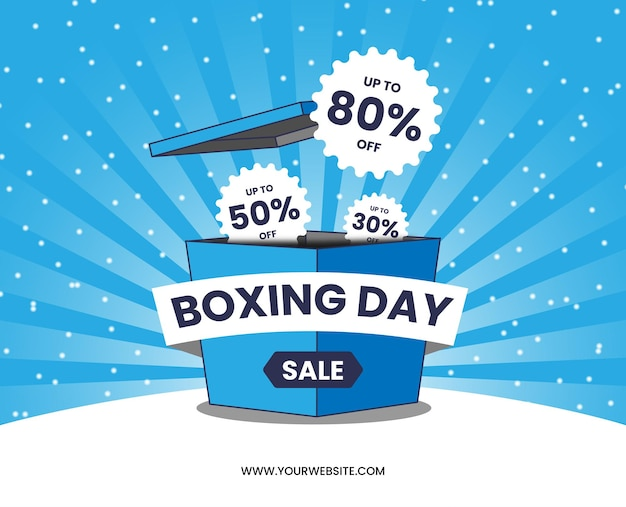 Boxing day sale blue box cartoon blue sunburst snow vector