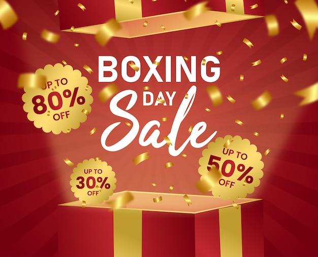 Boxing day sale exclusivo red box gold ribbon sunburst vector