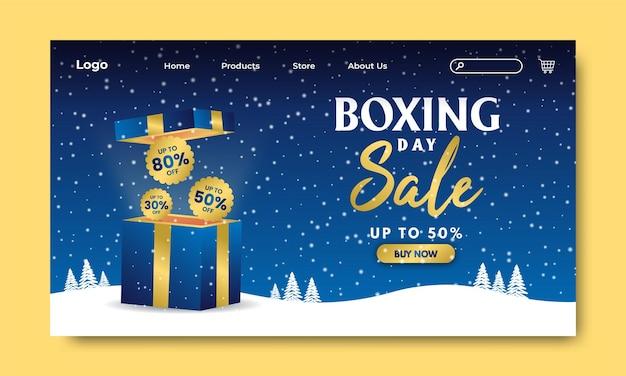 Boxing day sale landing page gold fundo azul neve caixa exclusiva vector