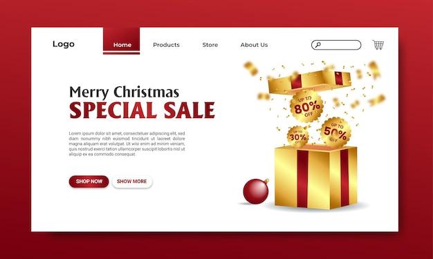 Boxing day sale landing page gold vermelho fundo branco confetti exclusive box vector