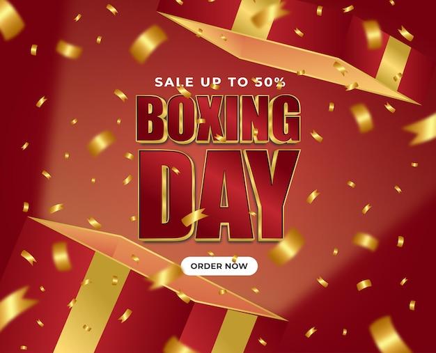 Boxing day sale red box exclusive golden ribbon confetti