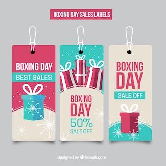 Boxing day vendas coleção rótulos