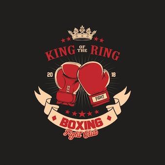 Boxing gloves club badge ilustração