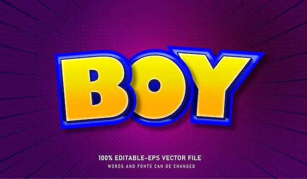 Boy text effect editable font com stroke amarelo e azul e fundo roxo