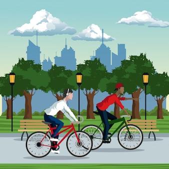 Boys ride bike park city background