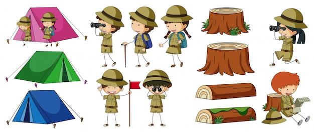 Boyscouts e elementos de camping