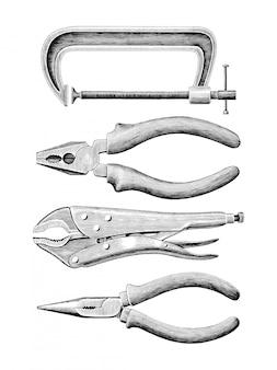 Braçadeira conjunto mão desenho vintage isolado no fundo branco