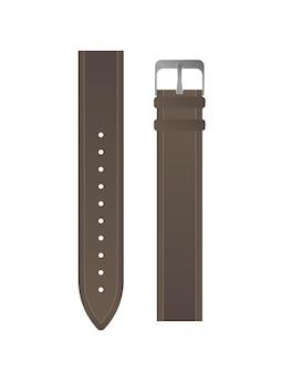 Bracelete castanha para relógios de homem. pulseira de couro isolada.