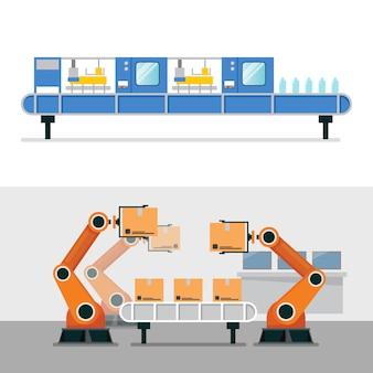 Braço de robô de automação e máquina de cinto em fábrica inteligente industrial