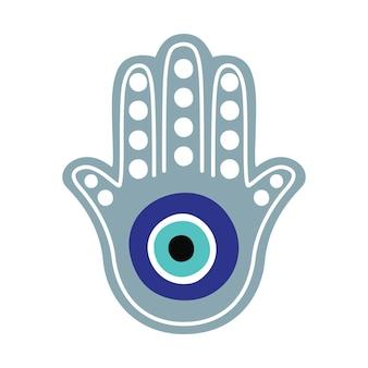 Braço de sinal religioso com olho que tudo vê. talismã de proteção decorativa da alma do mal.