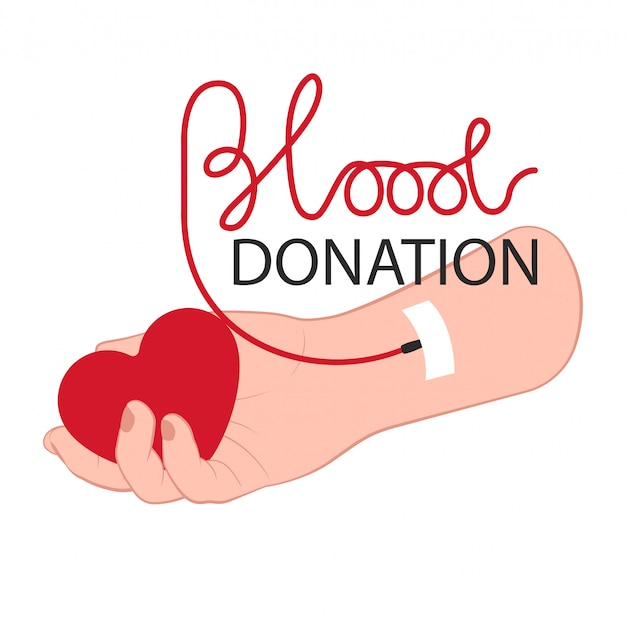 Braço doador com coração e lettering conceito de doação de sangue para o dia de doação de sangue