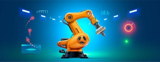 Braço robótico 3d em fundo branco. manipulador de robô industrial.