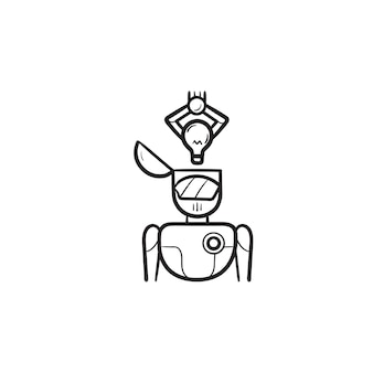 Braço robótico, colocando a lâmpada de ideia no ícone de doodle de contorno desenhado de mão principal. ai, autômato, conceito de cérebro de robótica. ilustração de desenho vetorial para impressão, web, mobile e infográficos em fundo branco.
