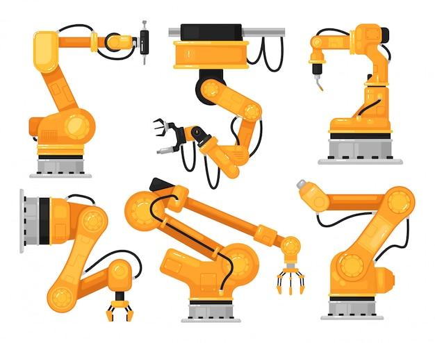 Braço robótico industrial. mão de máquina hidráulica de fábrica para fabricação automática no conjunto de linha de produção. manipulador de robô industrial de ilustração de linha de montagem automatizada.