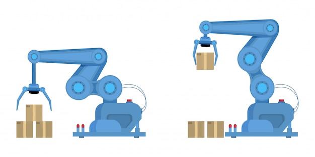 Braço robótico industrial plano