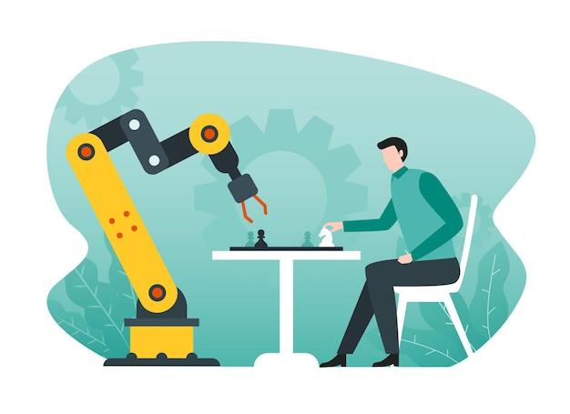 Braço robótico inteligente jogando xadrez com um homem, conceito de inteligência artificial