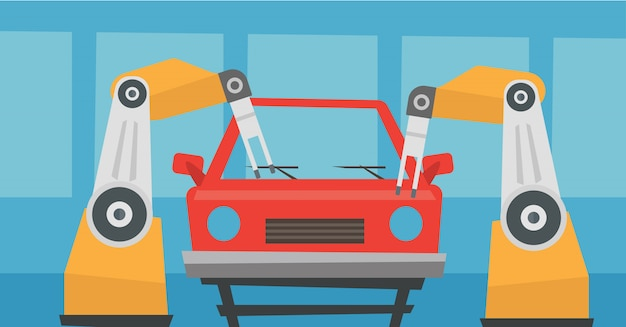 Braço robótico, montagem de carro na loja de montagem.