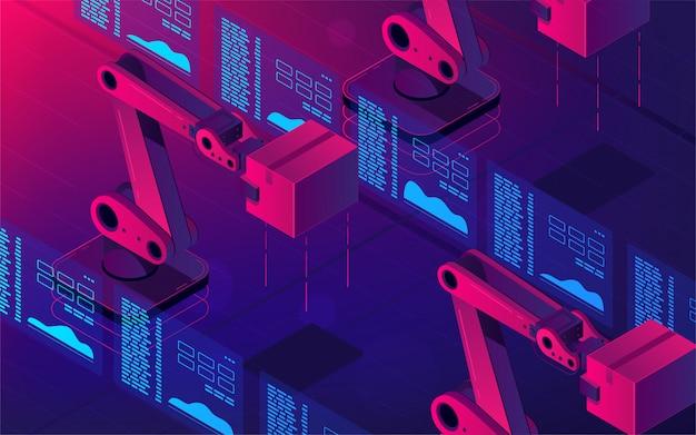Braços de robô automatizado 3d ilustração isométrica