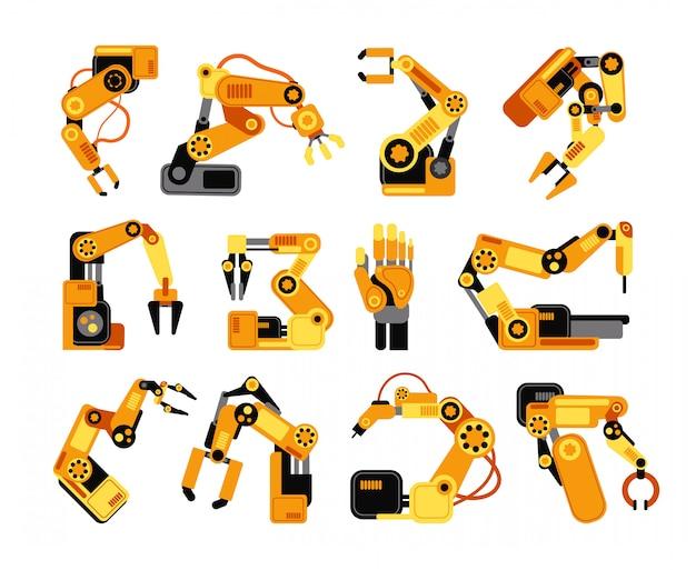 Braços de robô de fábrica, fabricação de conjunto de vetores de equipamentos industriais