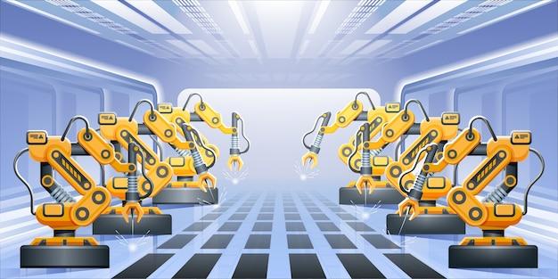Braços do robô com linha de transporte. linha de montagem do robô na fábrica.
