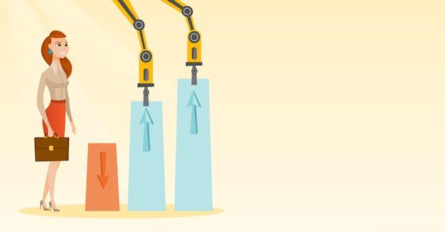 Braços robóticos levantar gráficos de negócios