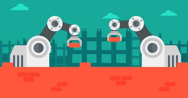 Braços robóticos trabalhando no canteiro de obras.