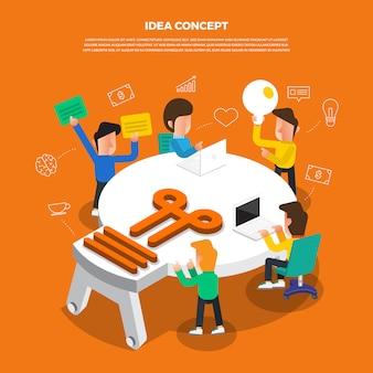 Brainstorm de conceito de design plano trabalhando na área de trabalho ícone idéia lâmpada.