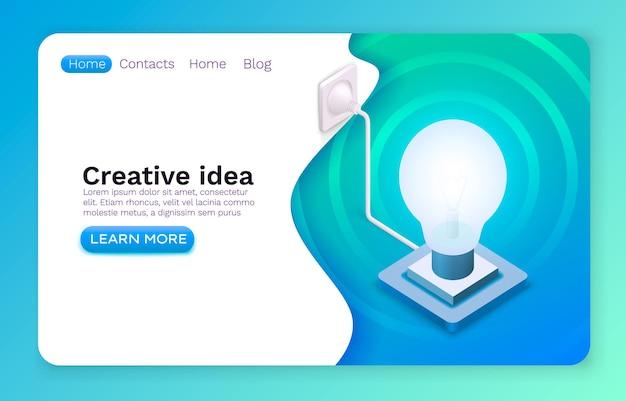 Brainstorm de ideias criativas, símbolo de lâmpada de informação, design de site online