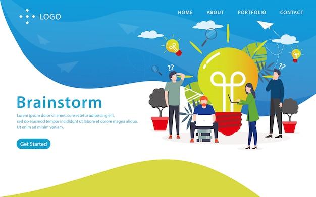 Brainstorm landing page, modelo de site, fácil de editar e personalizar, ilustração vetorial